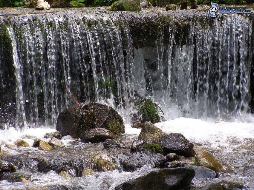 cascada, agua, rocas, corriente, río