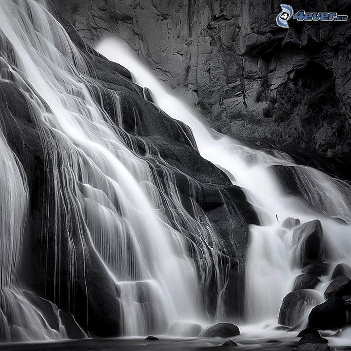 cascada, roca, blanco y negro