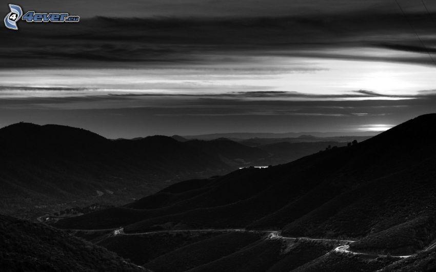 colina, blanco y negro, camino