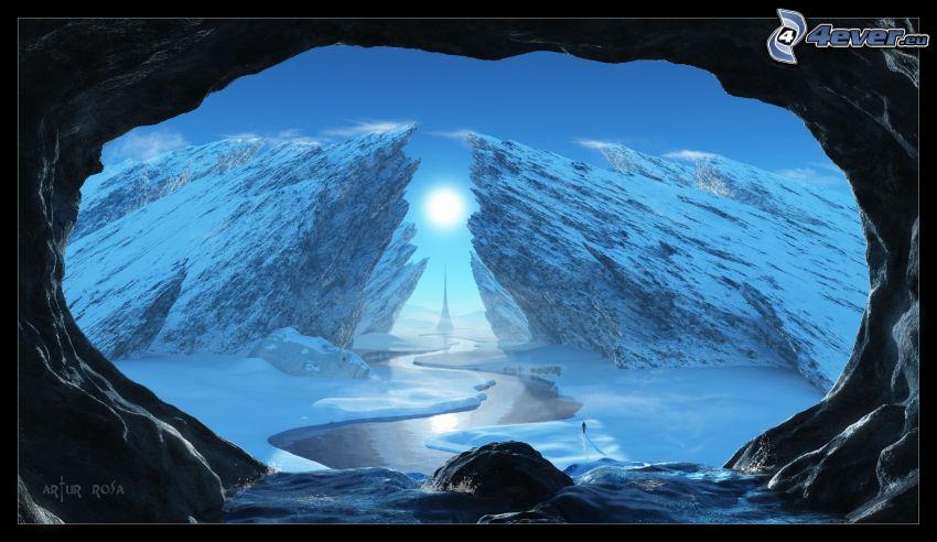 cueva, rocas, sol, nieve, río