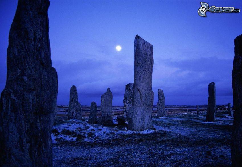 Escocia, piedras, atardecer