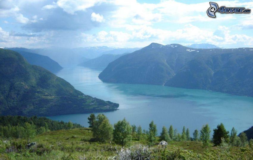 fiordo, panorama, lago, montaña, río