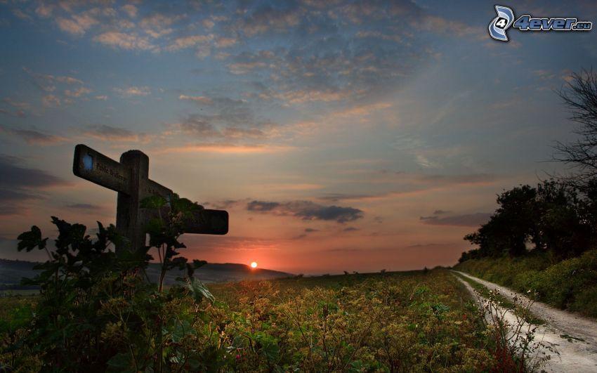 flecha, puesta del sol, camino de campo