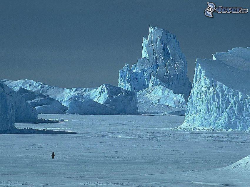 hombre, glaciar, hielo, nieve