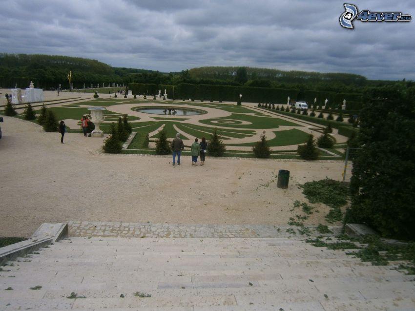 jardín, París, Francia, personas, escalera