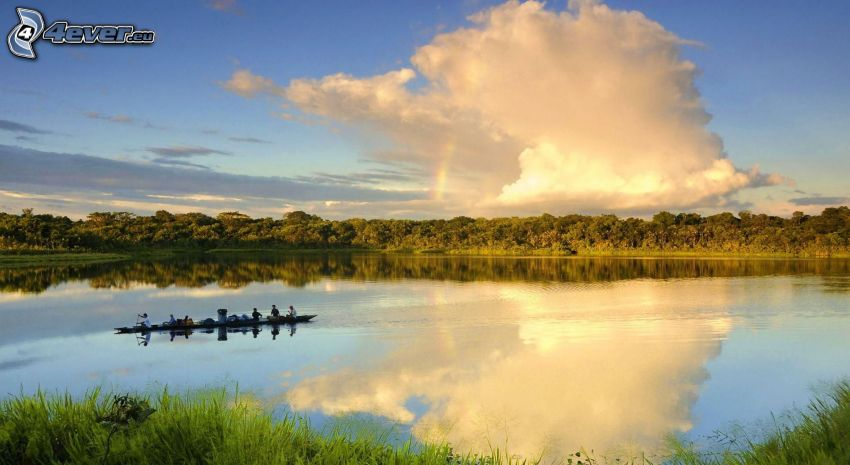 lago, barco, nube, reflejo