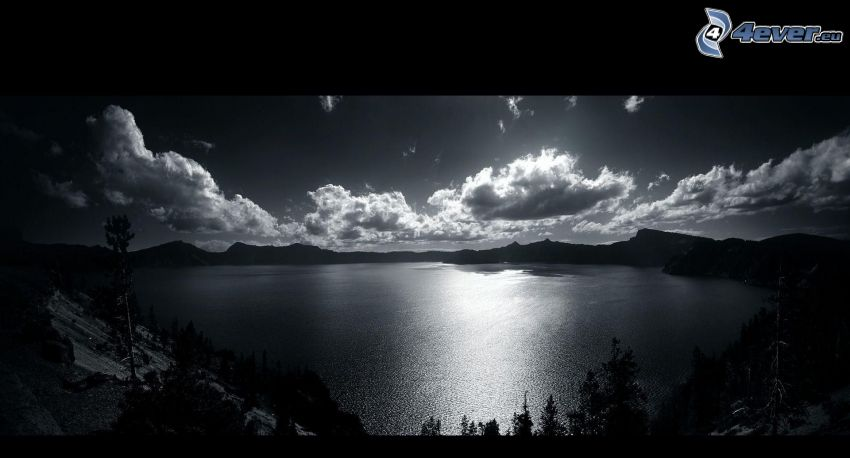 lago, blanco y negro