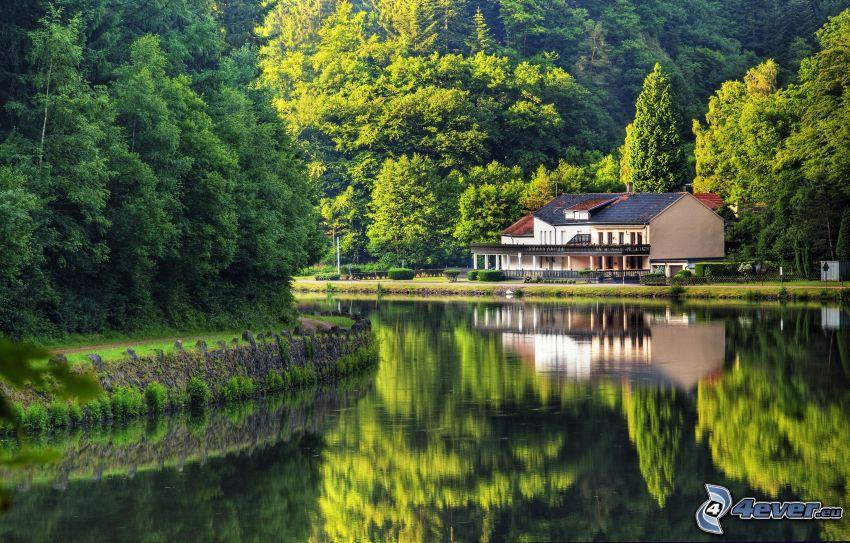 lago, casa, árboles