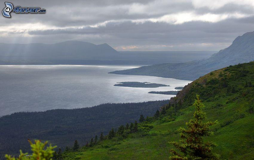 lago, colina, árboles
