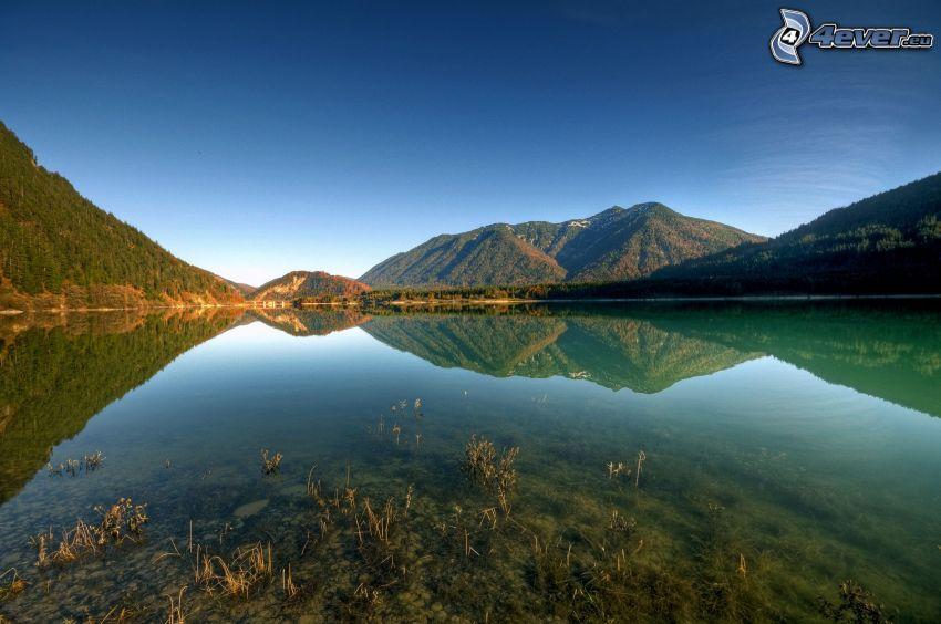 lago, colina, reflejo