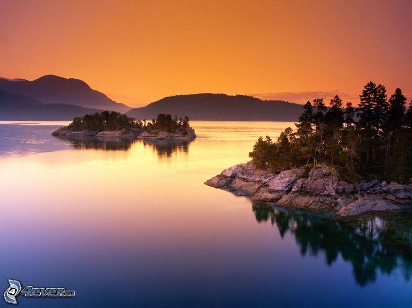 lago, islas, sierra