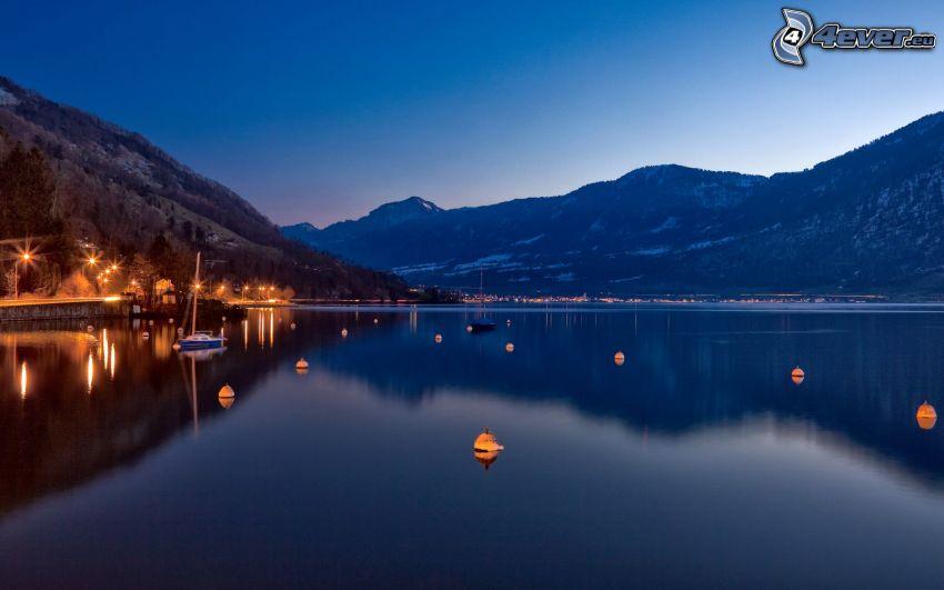 lago, montañas nevadas, Suiza