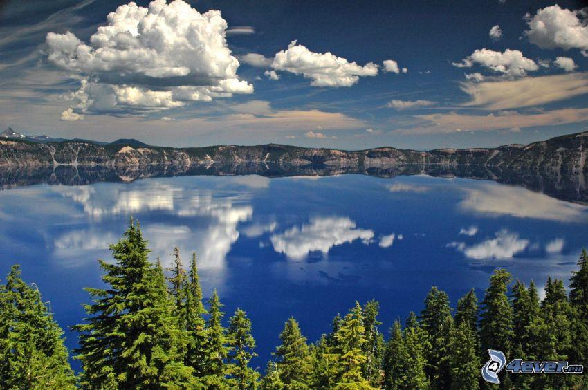 lago, nivel de aguas tranquilas, árboles coníferos, nubes, cielo, reflejo