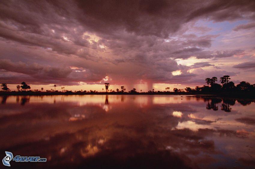 lago, nubes, reflejo