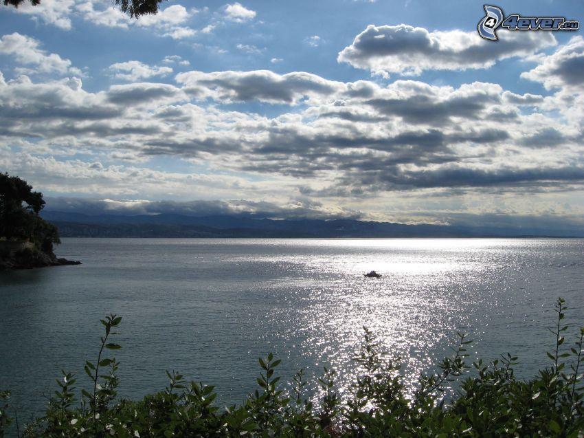 lago, nubes