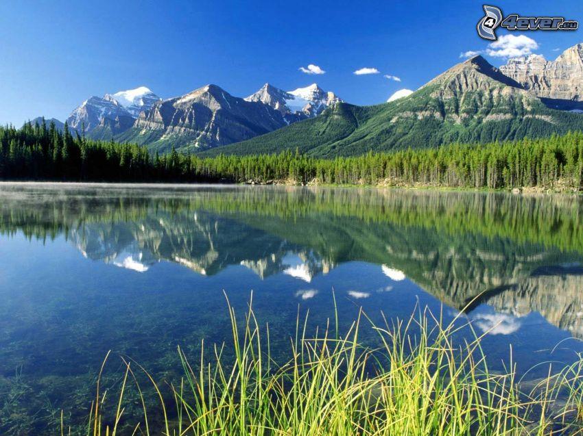 lago, reflejo, montañas, colina