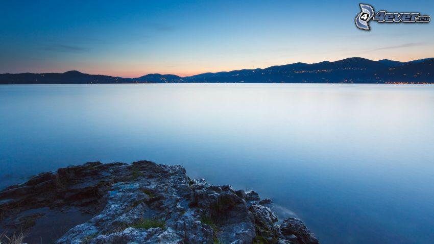 lago, roca, colina, atardecer