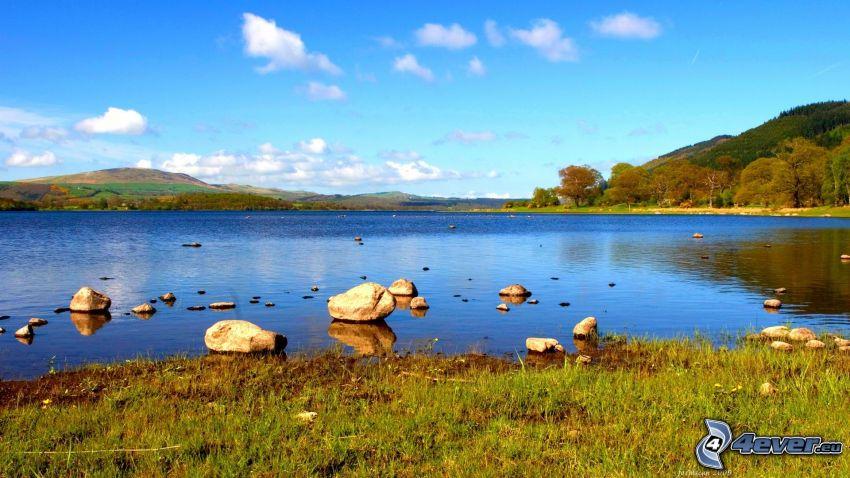 lago, rocas, colina, nubes