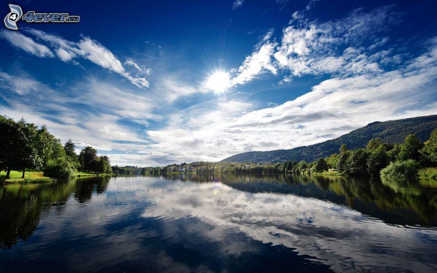 lago, sol, Noruega