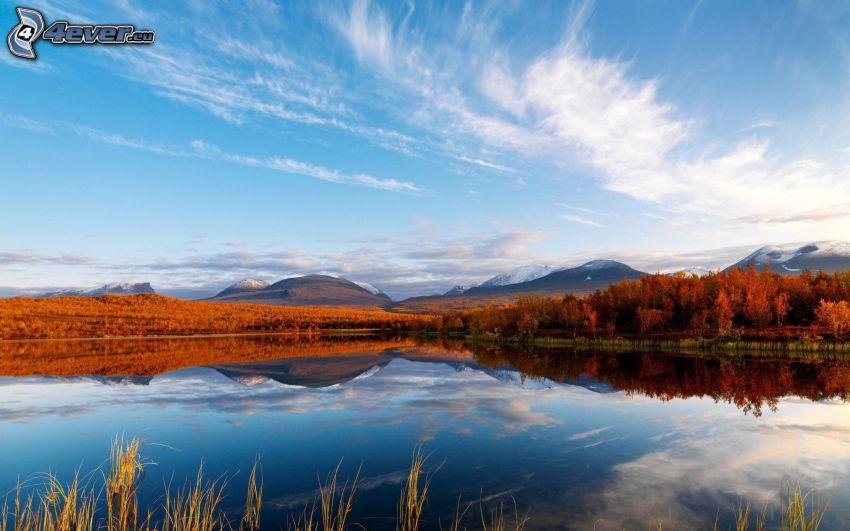 lake Coleridge, sierra, cielo, Nueva Zelanda