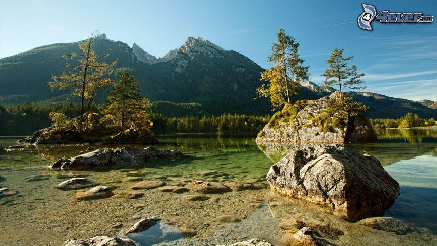 montañas, lago, piedras