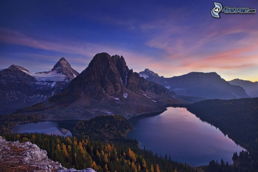 Mount Assiniboine, montañas, lago