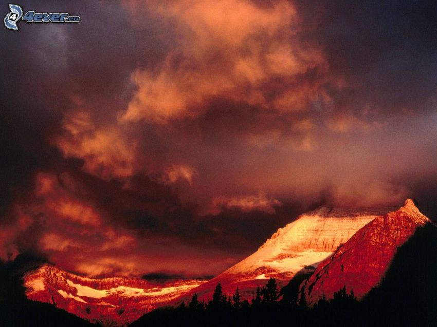 Mount Wilber, Glacier National Park, USA, colina, nubes