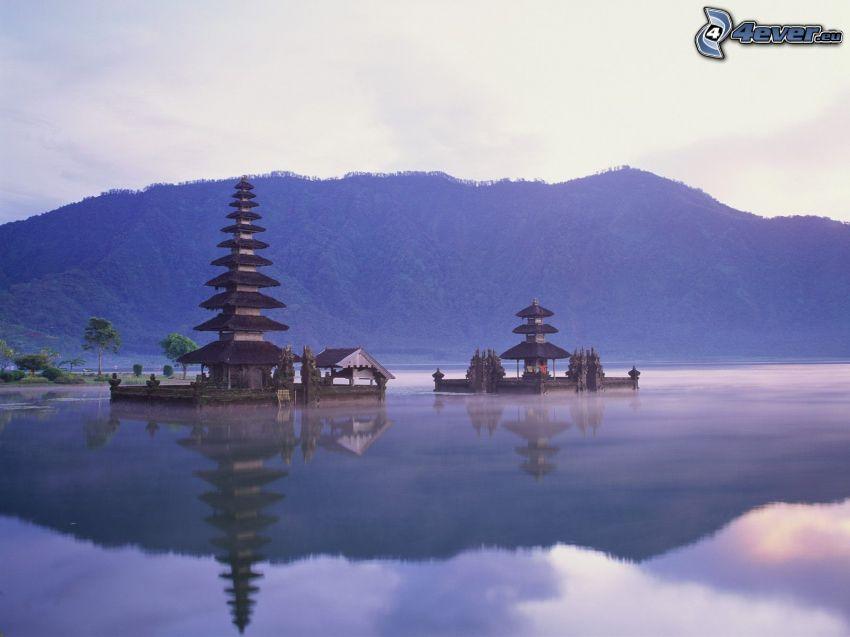 pagoda china, lago, montaña, reflejo