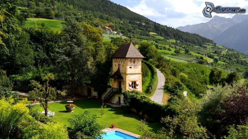 paisaje, casa, camino, piscina