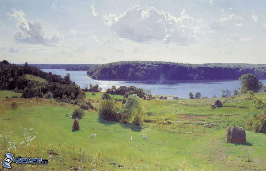 paisaje, río, prados, bosque