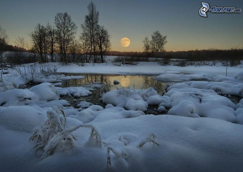 paisaje de invierno, Luna, lago