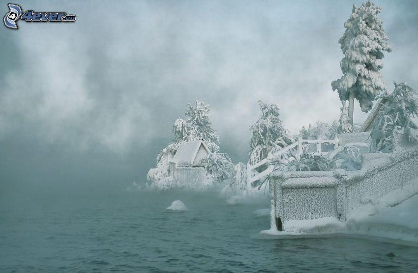 paisaje helado, orilla, río, árboles congelados
