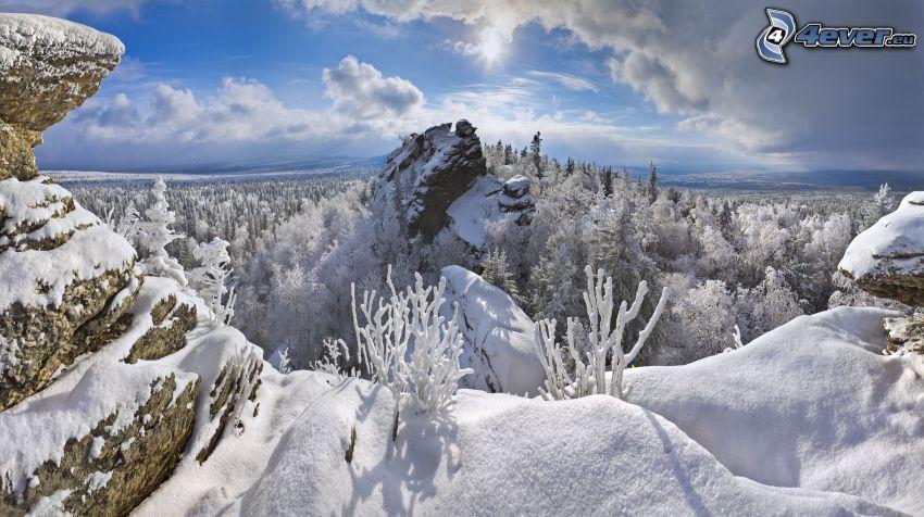 paisaje nevado, rocas, nube, sol