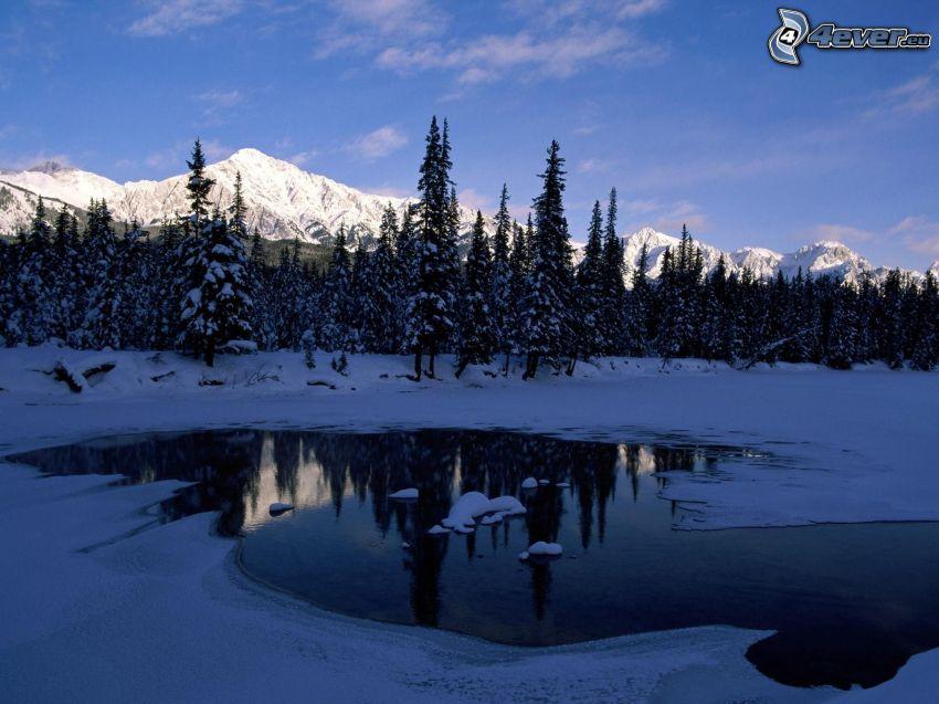 Parque Nacional Banff, lago de montaña, bosque nevado, colinas cubiertas de nieve