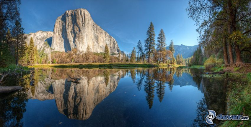 Parque nacional de Yosemite, lago, roca, árboles, reflejo