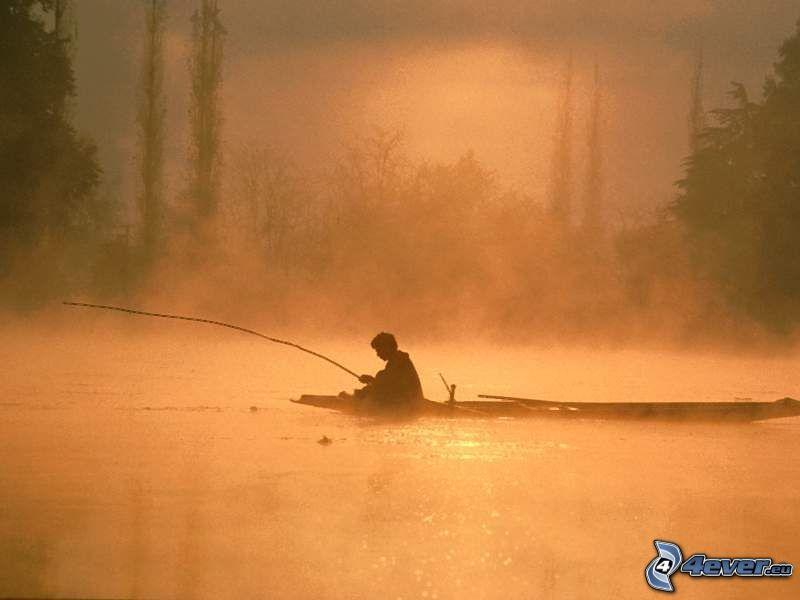 pescador al atardecer, barco en el río, agua