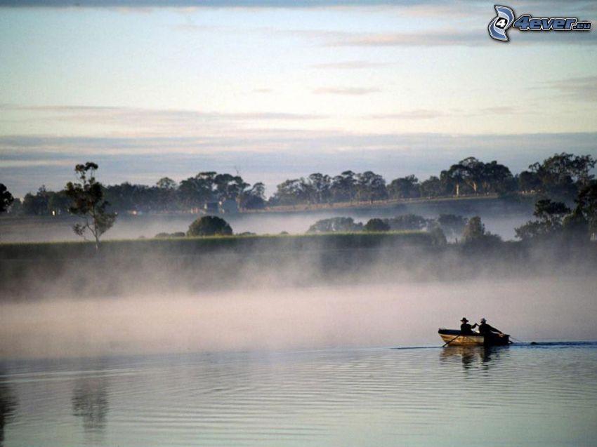 pescadores, Chinos, barco, río, niebla sobre el lago