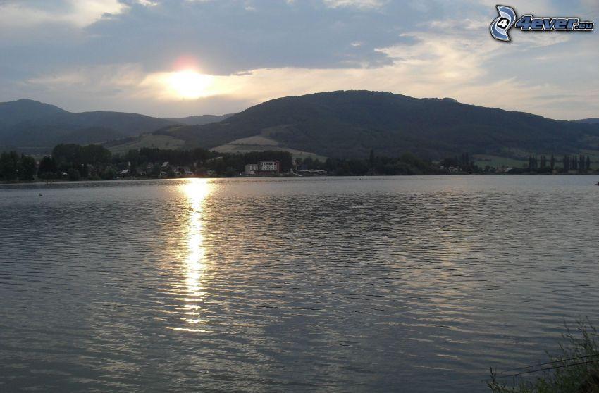 presa, sol, paisaje