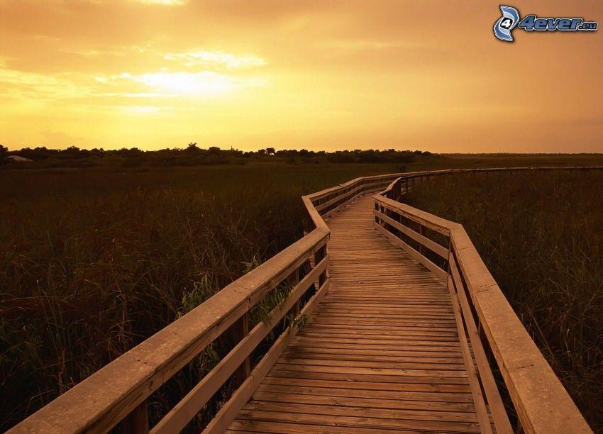 puente de madera, puesta del sol