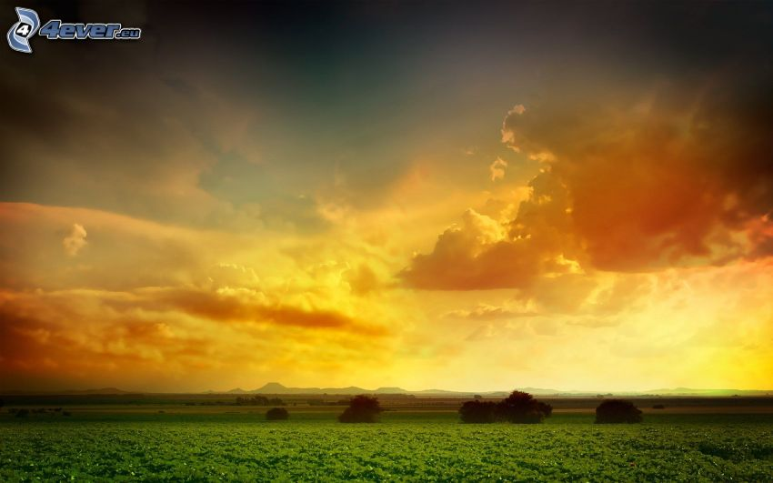 puesta de sol sobre el campo, paisaje