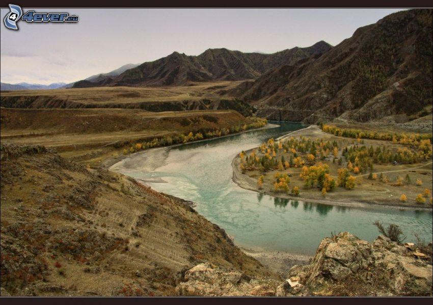 río, colina, árboles otoñales