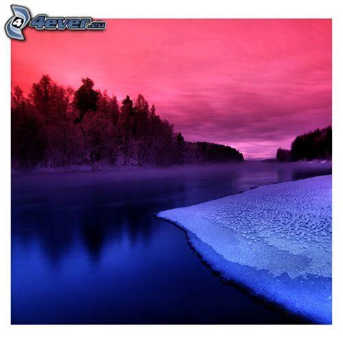 río, hielo, árboles, nieve