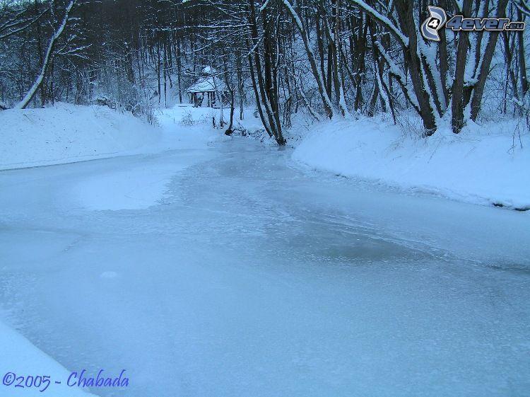 río, hielo