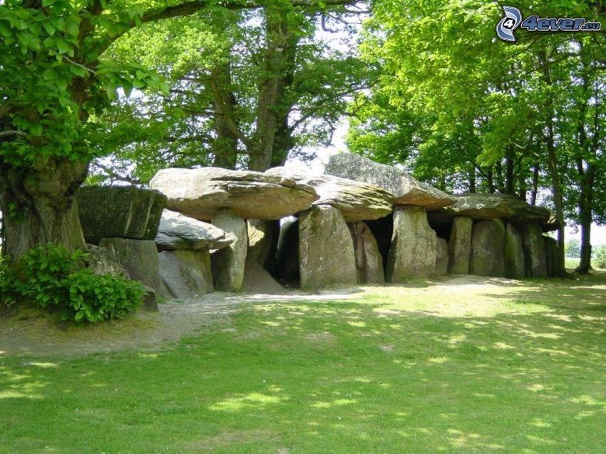 rocas, muro, prado, bosque