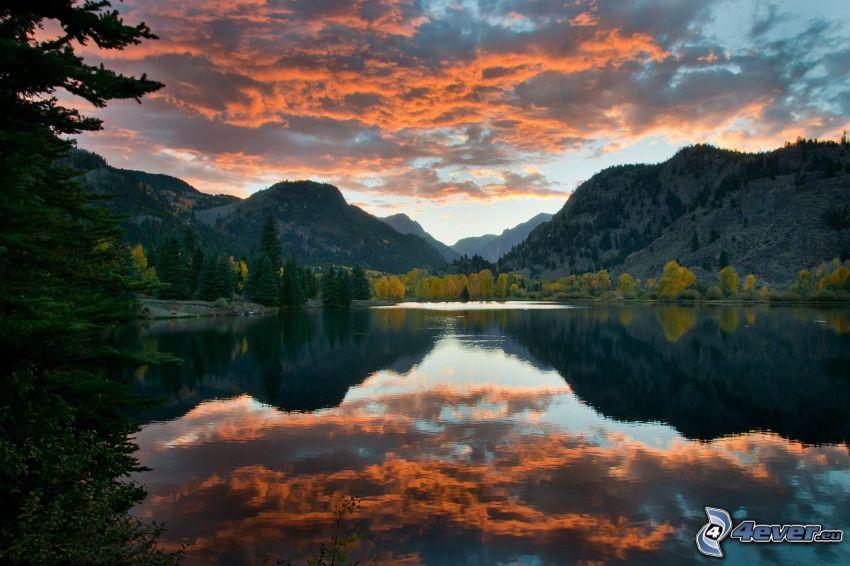 sierra, lago, cielo, reflejo