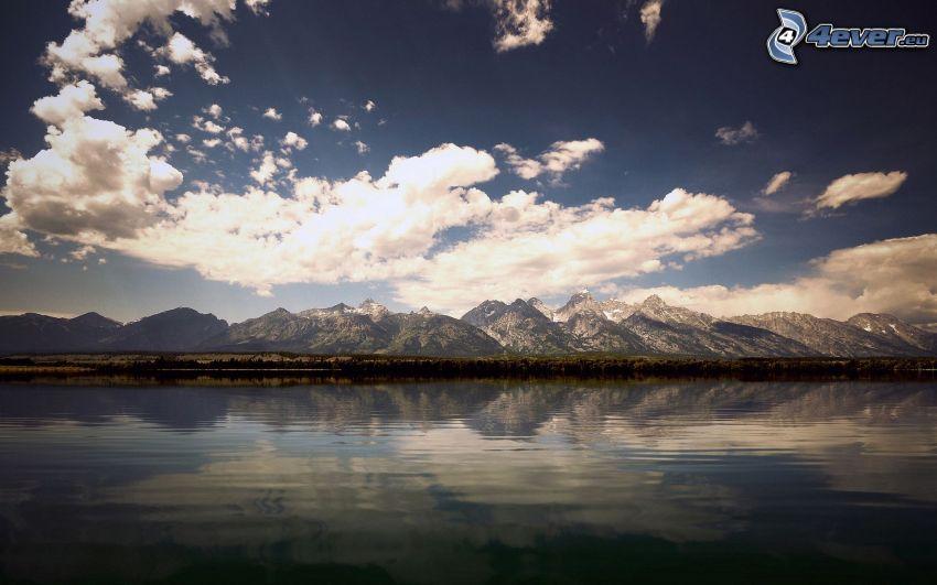 sierra, lago, nubes, cielo