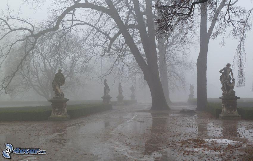 parque, estatuaria, niebla