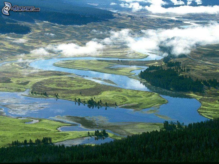 Parque Nacional de Yellowstone, río, valle