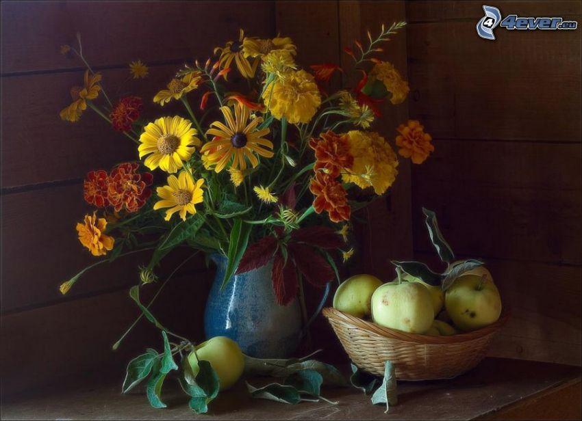 bodegón, flores en un florero, caléndula, manzanas verdes, cesta