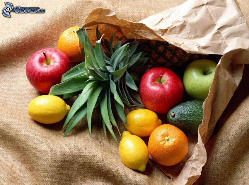 fruta, manzanas, limones, aguacate, naranja, piña